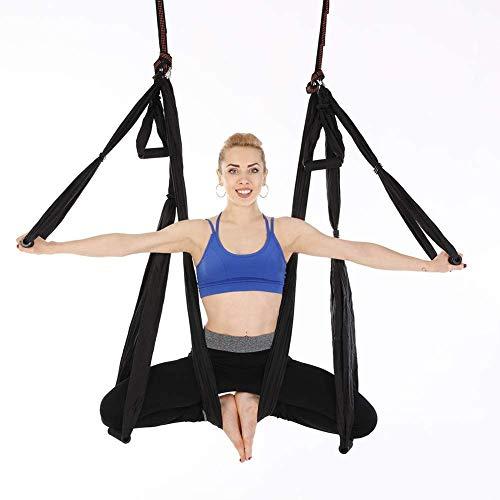 QWJUN Pilates Volante Imbracatura della Cinghia, Yoga Volare Imbracatura della Cinghia, Yoga Amaca, 4 Acciaio Moschettoni, 6 Maniglie, Migliorare L'immunità E Ridurre Il Grasso