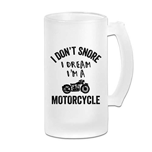 No ronco Sueño Soy una motocicleta Jarra de cerveza Stein Wine de vidrio esmerilado de 16 oz