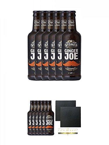 Stones Ginger Joe 6 x 0,33 Liter Flaschen + Stones Ginger Joe 6 x 0,33 Liter Flaschen + Schiefer Glasuntersetzer eckig ca. 9,5 cm Ø 2 Stück