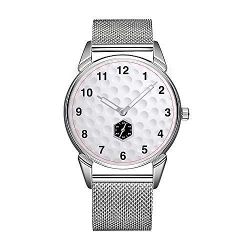 Mode herenhorloge zilverkleurig roestvrij staal waterdicht horloge mannen top merk herenhorloge golfbal herenhorloge