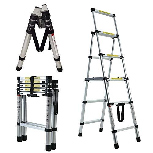 4 + 5 Extension Ladder Multi-Purpose A-Frame Telescoping Ladder - Aluminum Lightweight Adjustable Step Ladder - Portable Collapsible Ladder, 150KG Capacity, 4+5 Step