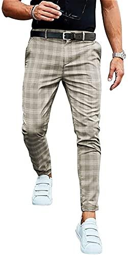 SKYWPOJU Herren Chino Karierte Stoffhose mit 2Taschen aus 98% Baumwolle | Lange Regular Fit Stretch Hose Karo-Muster Herrenhose Baumwollhose Männerhose Freizeithose für Männer