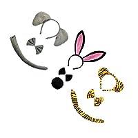 NUOBESTY 動物コスチュームセット象バニータイガー耳カチューシャボウタイテール漫画ジャングルサファリコスプレパーティー子供のための好意大人のドレスアップギフト