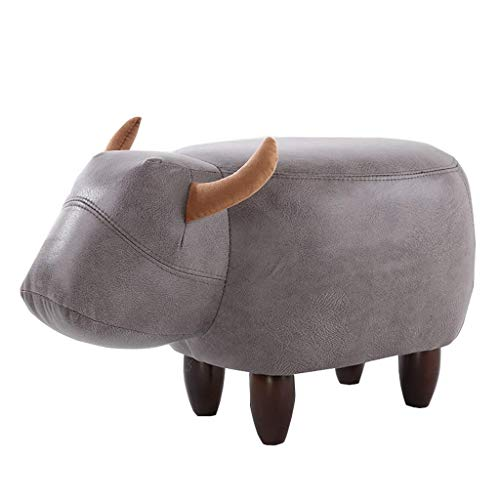 Zjnhl TAOFurniture Upholstered Footstool Medium Ottoman Pouffe Non-Slip Plastic Legs Change Shoe Stool Cow Shape Ottoman Footstool (Color : Gray) (Color : Gray)
