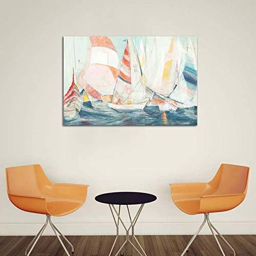 Retro Resumen Pintura Imprimir Vela Barca Lienzo Pintura Chorro De Tinta Arte Cuadro Paisaje Pintura Elegante Hogar Pared Decor Pintura,Noframe,70x105cm