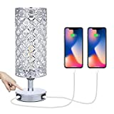 Tomshine Crystal Bedside Table Lamp Touch Control 3-Way Dimmable with Dual USB Charging Port Silver Table Lamps for Bedrooms, Lliving Room, Lounge (LED Bulb Included)