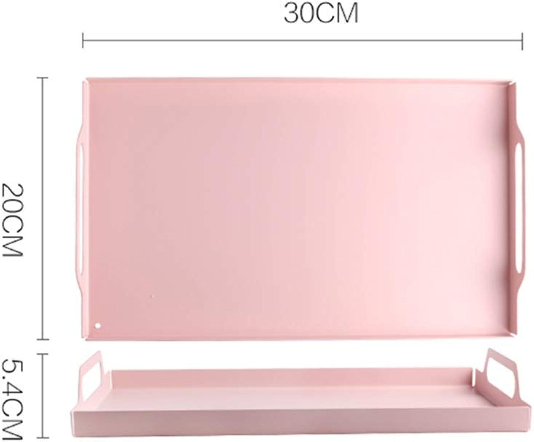 Plateau rectangulaire - Multi-fonctions avec poignée Rose Plateau en acier inoxydable massif antidérapant pour le petit-déjeuner Plateau de service à thé (Taille   30  20  5.4cm)