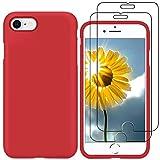 YiKaDa - Funda para iPhone SE 2020 / iPhone 8/7 + [2 Unidades] Cristal Templado Protector de Pantalla, Cáscara Suave de Silicona TPU Líquida Funda Forro de Gamuza de Microfibra Suave Cojín - Rojo