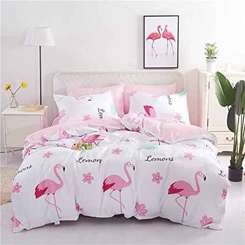 Juego de ropa de cama rosa Flamingo & Flor, ropa de cama infantil para niñas, hipoalergénica, de...