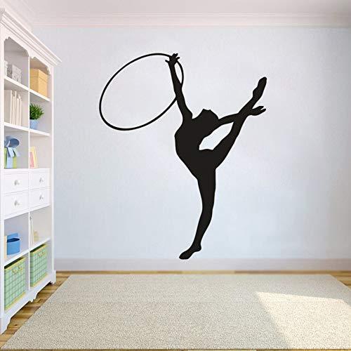 Pegatina de pared para niñas de gimnasia, cartel de estudio de gimnasio de gimnasia, calcomanía de pared de atleta de gimnasia extraíble, arte de pared para chica deportiva A6 42x52cm