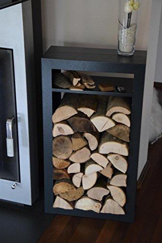 Kaminholzregal Innen aus Metall Rechteck mit Anfeuerholzfach - Anthrazitgrau