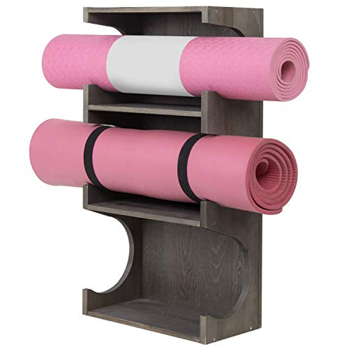 MyGift Wall-Mounted Vintage Gray Wood 3-Tier Yoga and Barre Mats Storage Rack