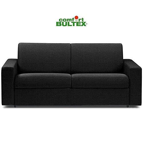 Canapé Convertible rapido CRÉPUSCULE Matelas 120cm Comfort BULTEX® Tissu Tweed Gris Graphite