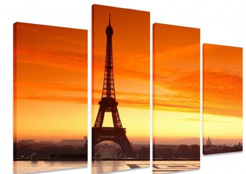 Immagine–multi split pannello canvas Artwork Art–Eiffel Tower Paris Bright Orange Sky Sunrise Sunset–Art Depot Outlet–4pannelli–101cm x 71cm (101,6x 71,1cm)