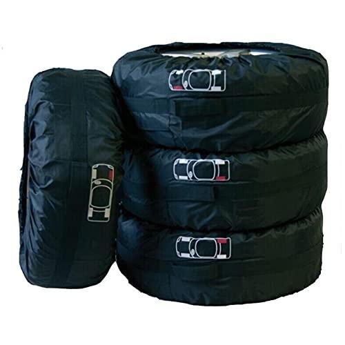 Funda Protectora Para NeumáTicos,Fundas De Rueda Bolso de almacenamiento de la cubierta del neumático de la cubierta del neumático de 4pcs / set con los accesorios del neumático de la marca Protector