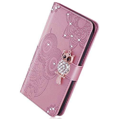Herbests Kompatibel mit Huawei P30 Handyhülle Glitzer Bling Strass Diamant Eule Mandala Blumen Muster Leder Tasche Flip Case Cover Hülle Schutzhülle Klapphülle Magnet,Rose Gold