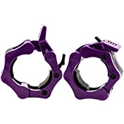 Greententljs Barbell Clamps 2 Inch Olympic - Pair of Collars Quick Release Locking Barbell Workout Pro Weight Plate Clamp Clips for Gym Power Heavy Weightlifting Fitness (Purple)