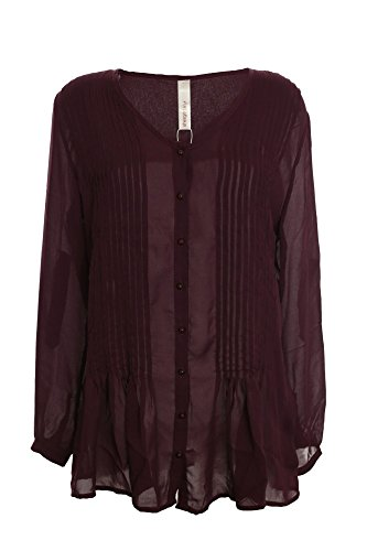 sheego Bluse Tunika Hemd Damen Lagenlook Plusgröße, Farbe:aubergine;Damengrößen:46
