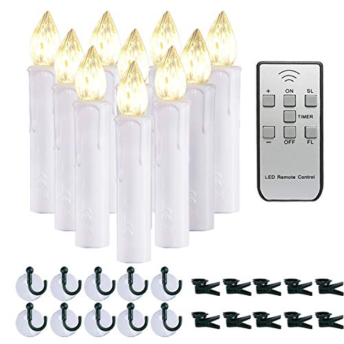 Homemory 10 PCS LED Window Candles with Remote Timer, Battery Operated Flameless Taper Candles Light with Clips/Suction Cups Warm White Light for Christmas Halloween Dia 0.7''x 4''