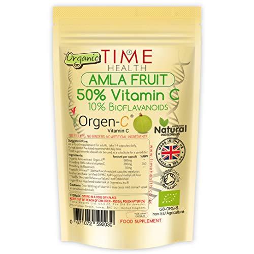 Organic Amla Fruit Extract Capsules – Natural & Wholefood – 50% VIT C / 10% Bioflavanoids – Premium Brand ORGEN C – Delayed Release for Maximum Absorption (60 Capsule Pouch)