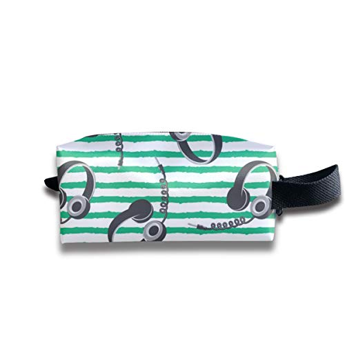 Travel Toiletry Pouch Headphones on Dark Green Stripes Kit Make-up Bag with Handle