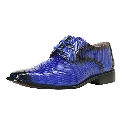 LIBERTYZENO Oxford Dress Shoes for Men Formal Manmade Leather Classic Tread Design Lace Up Casual Shoes Royal Blue