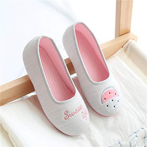 B/H Zapatilla Andar,Zapatos de confinamiento de Malla de Verano Zapatos de Maternidad Transpirables Zapatillas de Interior Delgadas-Sandía Gris_38,Slippers Suave