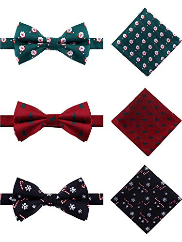 Tatuo 3 Sets Men's Christmas Woven Bow Tie Pocket Square with Snowflake Santa Christmas Tree Patterns for Party Supplies