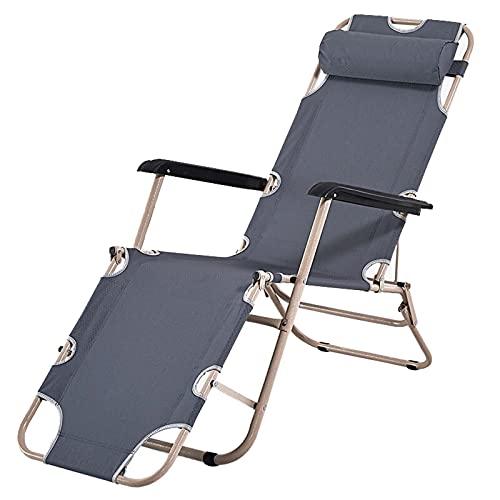 DECB Sillón Plegable Chaise al Aire Libre portátil Sillón reclinable con reposacabezas, diseño Curvo para la terraza de la Piscina de la Playa del Patio Trasero del jardín Gris