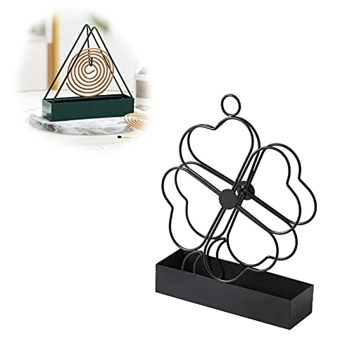 HHKX100822 Summer Wrought Iron Fireproof Mosquito Coil Holder Retro Mosquito Coil Incense Burner Metal Mosquito Dish Frame For Home Outdoor Patio, Deck, Camping, Hotel black Four leaf clover