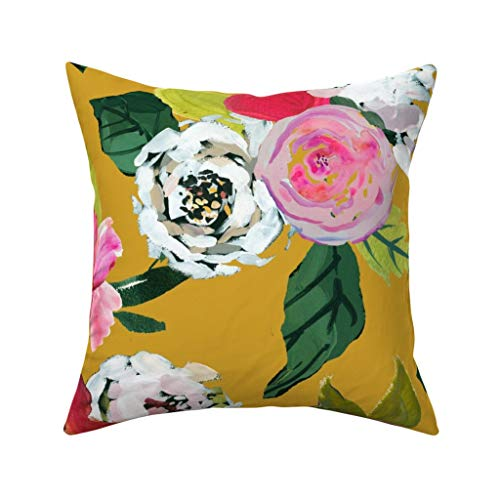 Meg121ace Senfgelber Überwurf-Kissenbezug – bemalte Rose Garten Home Decor Theartworks – weiße Rosen Senf Floral 45,7 x 45,7 cm quadratischer Überwurf Kissenbezug Geschenk
