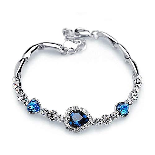 HMANE Pulsera de Diamantes de imitación de Cristal para Mujer, Regalo de niña, Pulseras de Cadena de Acero Inoxidable
