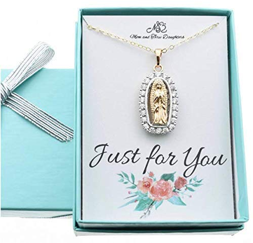 Holy Mary Gold Filled CZ Pendant 18