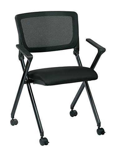 Office Star Breathable Flexible Mesh Back Folding Nesting Chair with Padded Fabric Seat and Casters, 2-Pack, Black with Black Frame