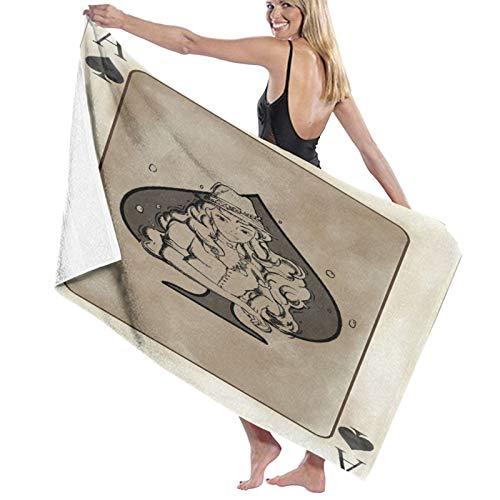 PATINISA Toalla de Playa de Microfibra,Diseño de Cartas de póquer Icono del Juego Arte de fantasía,Toalla Deportiva Secado Rápido Absorbente para Deportes Viajes Playa Camping