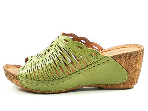 Gemini 032258-02 Schuhe Damen Pantoletten Clogs, Größe:40 EU, Farbe:Grün