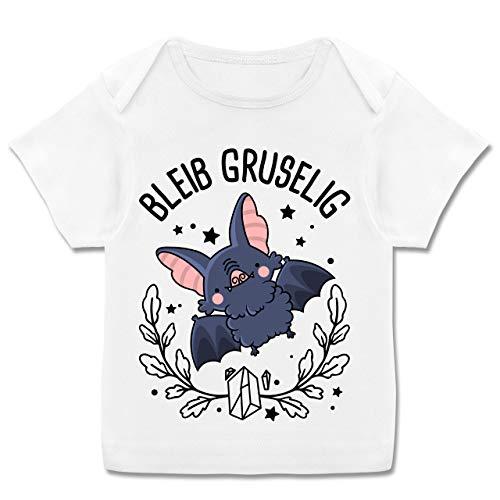 Halloween Baby - Bleib gruselig mit süßer Fledermaus - 68-74 (9 Monate) - Weiß - gruselig - E110B - Kurzarm Baby-Shirt für Jungen und Mädchen