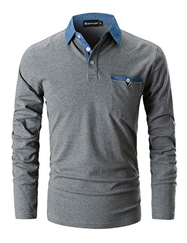 Ghyugr Slim Fit Golf Poloshirt, Camiseta Polo de Algodón con Mangas Largas para Hombre, Gris Oscuro, L