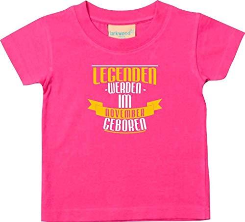 Shirtstown T-SHIRT ENFANTS légendes de Novembre né - rose, 0-6 Monate