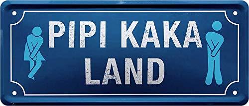 Blechschilder Divertido cartel de metal con texto en alemán 'Pipi Kaka Land', para baño, baño, baño, baño, baño, idea de regalo, 28 x 12 cm
