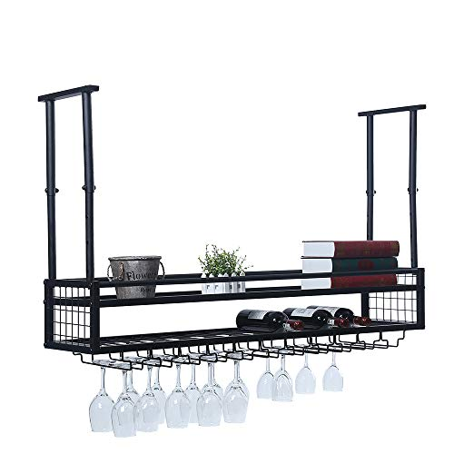 Hanging Wine Rack with Glass Holder and ShelfAdjustable Metal Ceiling Bar Wine Glass Rack2-Layer Industrial Wall Mounted Wine and Glass Rack472in Iron Bottle Holder Wine ShelfBlack