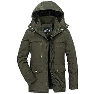 ZHPUAT メンズ ダウンコート アウターコート モッズコート ダウンジャケット アウトドア 裏起毛 中綿 厚手 防寒 防風 暖かい ウィンター 冬 グリーン 2XL