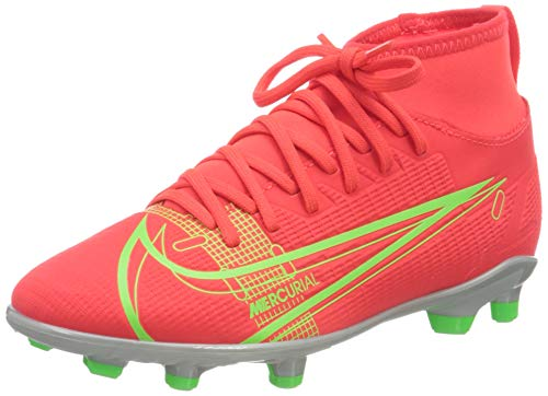 Nike JR Superfly 8 Club FG/MG, Scarpe da Calcio, BRT Crimson/Mtlc Silver-Indigo Burst-White-Rage Green, 36 EU