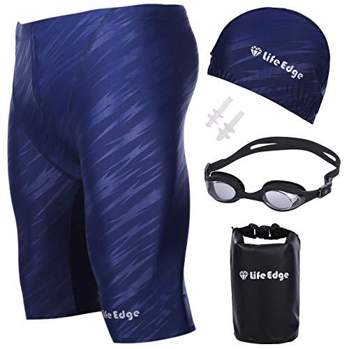 Life Edge メンズ 水着 フィットネス トランクス スイミング用品5点セット 競泳水着 スイミングゴーグル ス...