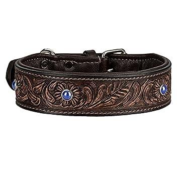 ✋ Michur Antonio ein weiches und starkes Hundehalsband aus Leder / Lederhalsband für Hunde! Das Modell Antonio ist aus braunem Leder mit blauen Applikationen gefertigt. In der Gesamtlänge 45cm und 3cm Breite, ist es geeignet für einen Halsumfang von ...