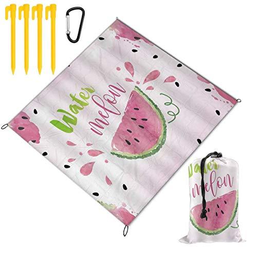 VORMOR Picknickdecke 145x150cm,Wassermelone Aquarell Frucht Fuchsia Erdbeere Süße Melone Scheiben Samen Leckeres Pink Pink,Stranddecken im Freien wasserdichte tragbare Matte für Wandern,Camping