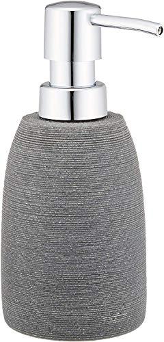WENKO Seifenspender Goa, nachfüllbarer Pumpspender für Flüssigseife, Lotion oder Spülmittel, aus schwerem Kunststein (Polyresin), im natürlichen Stein-Look, Ø 7.4 x 10.5 cm, Füllmenge 210ml, Grau
