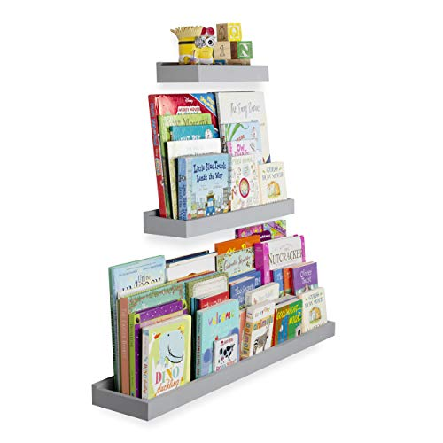 Wallniture Philly 3 Varying Sizes Floating Shelves Trays Bookshelves and Display Bookcase