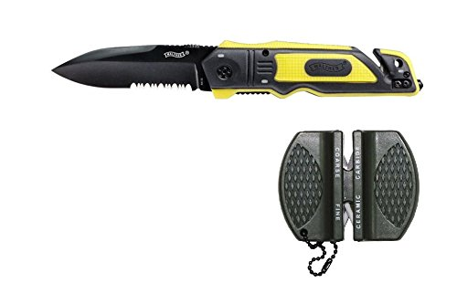 Walther ERK Emergency Rescue Knives yellow mit Messerschärfer und Holster