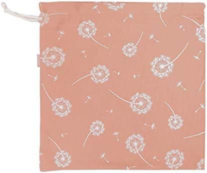 in tessuto 3 misure con cordoncino per bambini Set di 3 sacchetti per merenda o Muda Mimuselina dente di leone rosa